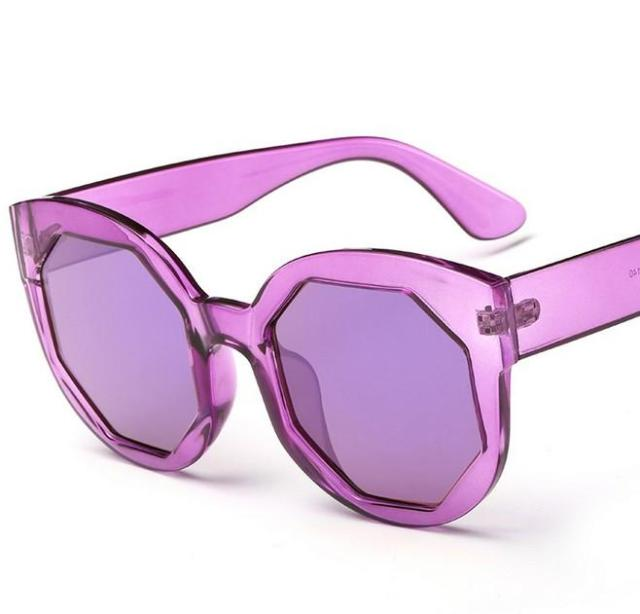 367ba732d2c N32 Women Candy Color Sunglasses Cat Eye Transparent Frame Polygonal Plate  Lens Summer Style Sun Glasses A de sol UV400