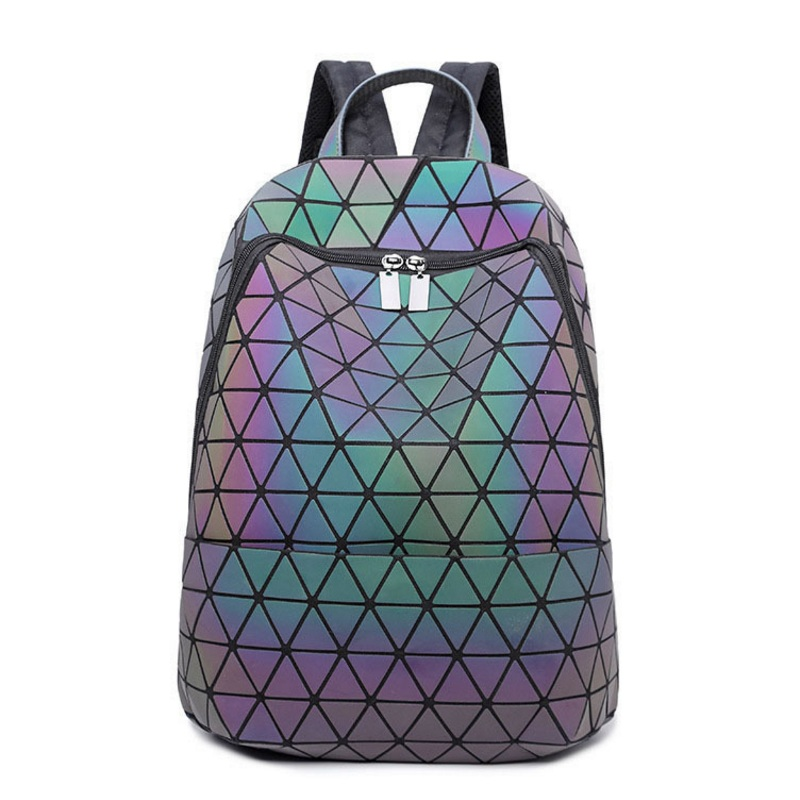 Luminous Laser Backpack Women Fashion Plaid Sequins Fold Geometry School Bags Diamond Lattice Teenager Girls Noctilucent Mochila