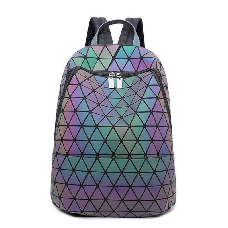 Luminous Laser Backpack Women Fashion Plaid Sequins Fold Geometry School Bags Diamond Lattice Teenager Girls Noctilucent Mochila