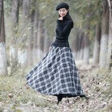 Новинка, женские шерстяные юбки, английский стиль, в клетку,, весна-осень, макси, длинная, толстая, женская, Ретро стиль, повседневная юбка, высокое качество, модная
