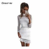 Fashion White Lace Women Mini Dress Vestidos Elegant O Neck Full Sleeve Ladies Dresses Female Simple