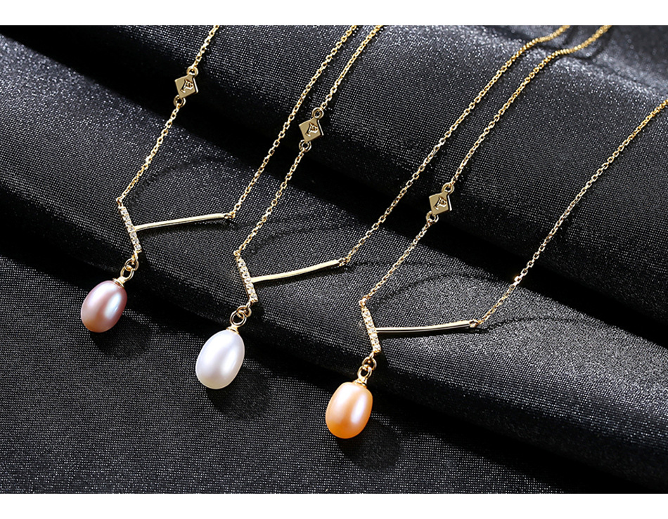 New creative S925 sterling silver pendant inlaid zirconium pearl necklace female accessories TS05New creative S925 sterling silver pendant inlaid zirconium pearl necklace female accessories TS05