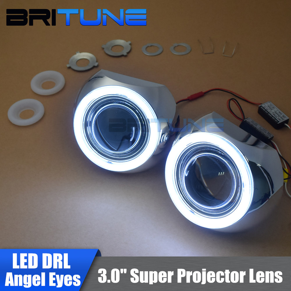 3.0'' Super Upgrade DRL LED COB Angel Eyes HID Headlight Bi-xenon Projector Lens Car Headlamp Retrofit DIY H1 H4 H7 9005 9006 safego 2 5inch hid bixenon projector lens kit bi xenon with shroud bi xenon lens for h1 h4 h7 h11 9005 9006 car hid headlight