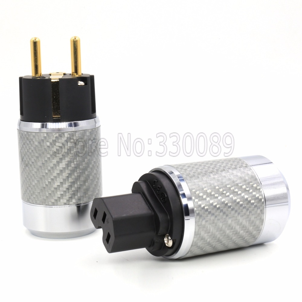 Free shipping one pair  style Carbon Fiber Copper 24K Gold Plated Schuko EU AC Power Plug IEC Femle free shipping one pieces sonar quest carbon fiber silver plated eu power plug