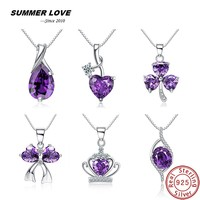 Summer Love Purple Pear 3 82g Natural Amethyst Necklace Pendant Real 925 Sterling Silver Jewelry