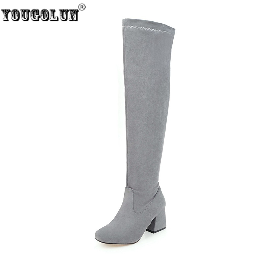 YOUGOLUN women nubuck thigh high boots ladies autumn winter boots woman over the knee boots women 2017 square high heels shoes ppnu woman winter nubuck genuine leather over the knee snow boots women fashion womens suede thigh high boots ladies shoes flats