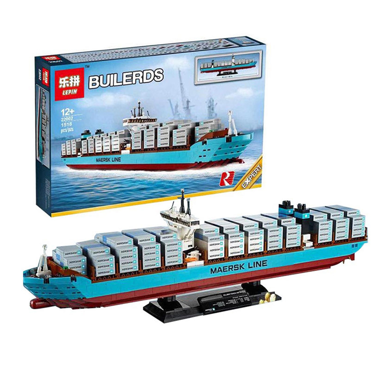 LEPINE 22002 Technology series Maersk cargo ship container ship 1518PCS building block Brick Toys Compatible BELA 10241 toy gift 2017 new lepine pirate ship imperial warships model building kits block briks toys gift 1717pcs compatible lele 10210