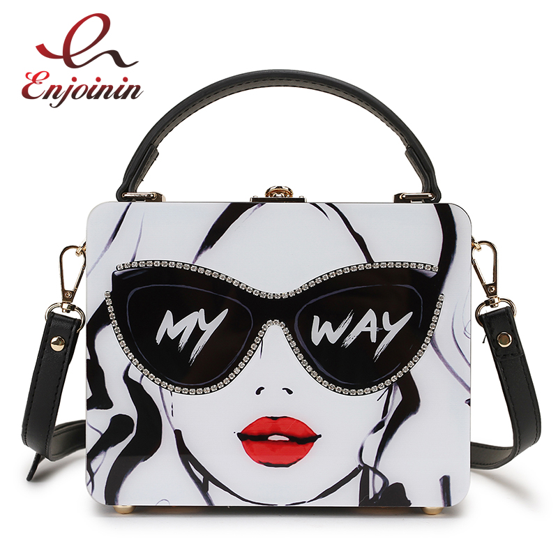 Dazzling Sunglasses Women Print Letter Acrylic Style Female Casual Totes Shoulder Bag Crossbody Bag Designer Bag Handbag Purse