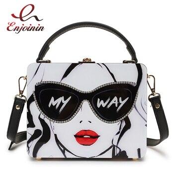 цена на Dazzling Sunglasses Women Print Letter Acrylic Style Female Casual Totes Shoulder Bag Crossbody Bag Designer Bag Handbag Purse