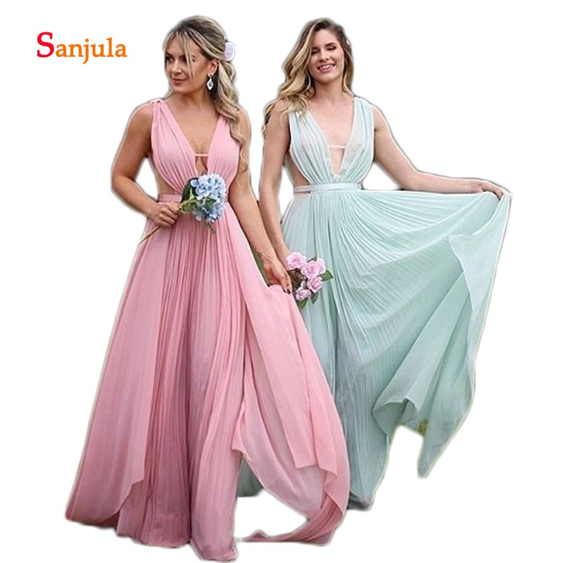 Mint Blue/Pink Chiffon Bridesmaid Dresses V Neck Tank A-Line Long Maid Of Honor Dresses Pleats Top Hollow Waist Prom Dress D1022