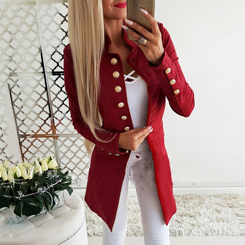 Lossky Women Jacket Blazers Slim Lady Office Wear Outwear Long Sleeve Stand Collar Formal Suit Long Black Red Autumn Spring Coat 2