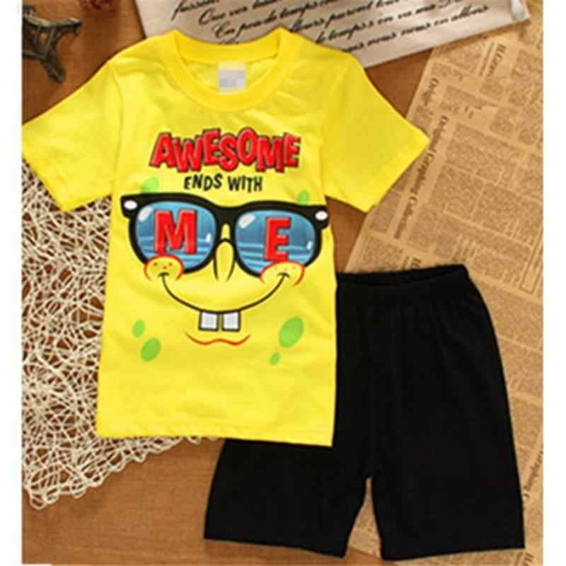 2018 Zomer Baby Boy Pyjama Kleding Sets 100% Katoen Cartoon Kids Homewear 2-7 Jaar Kinderen Tee Shirts shorts