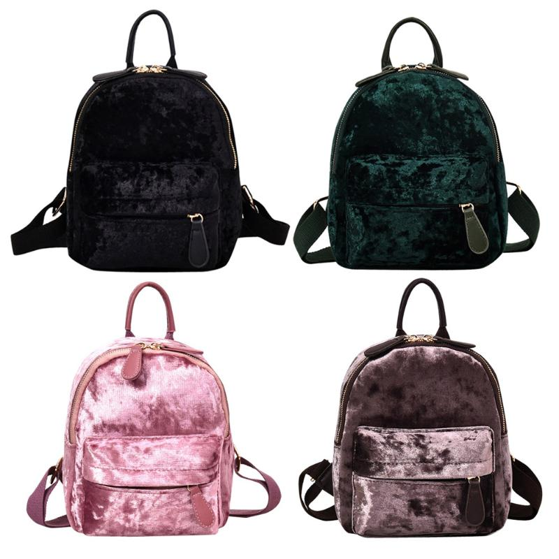 b92a648d1e6a Women Soft Veet Zipper Pure Color Backpack for Teenager Girls Small Travel  BackpacSchool Bags Features  The fashion version of the type concise but  not ...