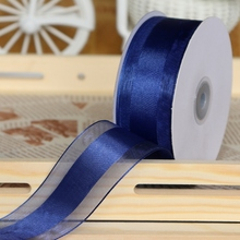 50Yards/lot 38mm wide Navy Blue Lace Chrismas Ribbons Birthday  Flower Bunch Box Wrapping /Wedding Party Decoration Lace Ribbons