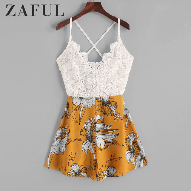 ZAFUL Playsuits Knotted Back Lace Panel Floral Cami Romper Sleeveless Criss-Cross Casual Women Sexy Spaghetti Strap Bodysuits