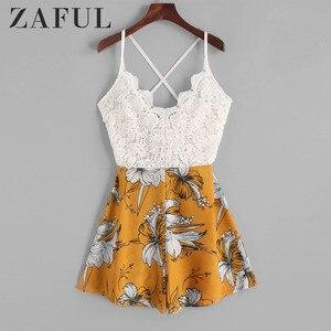 ZAFUL Playsuits معقود عودة الدانتيل لوحة الزهور كامي رومبير أكمام متقاطع عارضة المرأة مثير السباغيتي حزام داخلية
