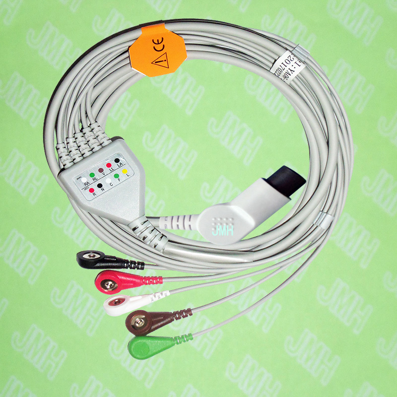 Compatible BCI,CSI,GE,Nellcor,Nihon Kohden And HP ECG Machine The One-piece 5 Lead Cable And Snap Leadwire,IEC Or AHA,bent 6pin.