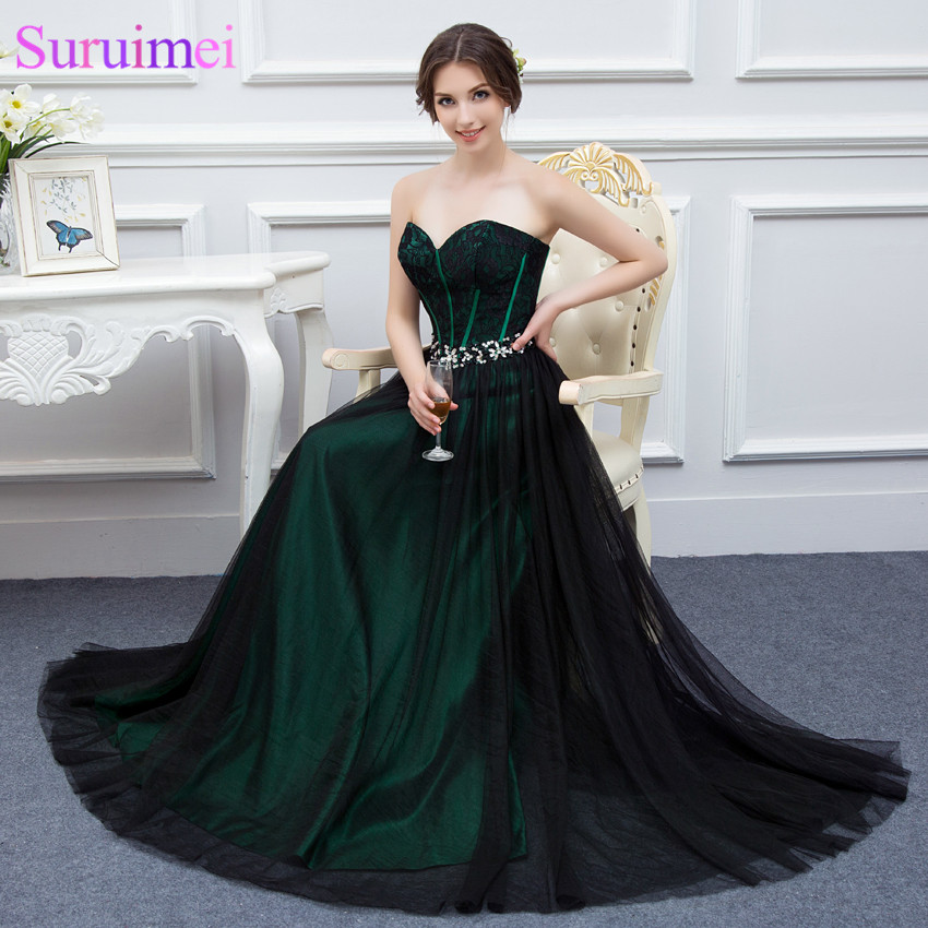 New Design Emerald Green Prom Dresses With Black Tulle Applique Beaded Long  Formal Prom Gown Real Sample High Quality-in Prom Dresses from Weddings    Events ... 48ffaf0e2ddb
