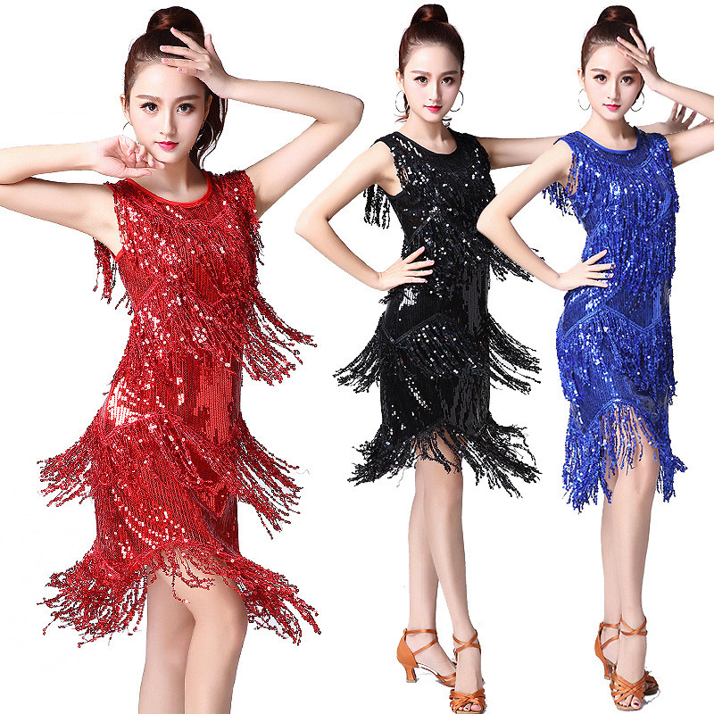 Shiny Sequin Latin Dance Dress for Adult Women Girls Stage Competition Dancing Costume Tassel Ballroom Dancewear Singer Clothing