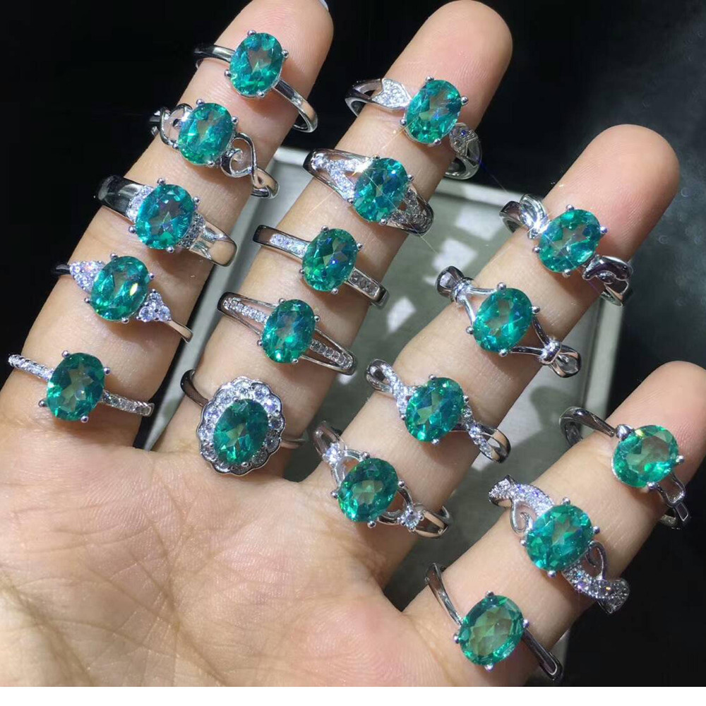 Newest Real Natural Green Spinel Topaz Ring Oval 6x8mm 925 Sterling Silver Ring Wedding Jewelry Women Rings Adjustable Ring SizeNewest Real Natural Green Spinel Topaz Ring Oval 6x8mm 925 Sterling Silver Ring Wedding Jewelry Women Rings Adjustable Ring Size