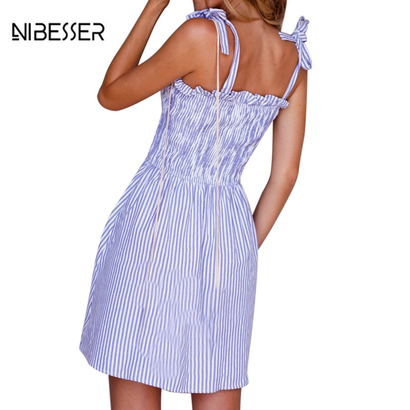 NIBESSER Sexy Striped Button Summer Strapless Dress Beach Women Vestidos Mini Dess Female