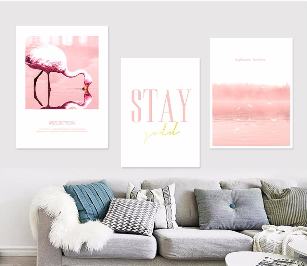 Abstract Landscape Flamingo Canvas Painting Pink Posters Prints - Flamingo Huisdecoratie