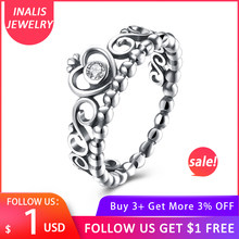 INALIS 925 Sterling Silver My Princess Queen Crown Engagement Ring with Clear CZ Authentic Sterling-Silver-Jewelry(China)