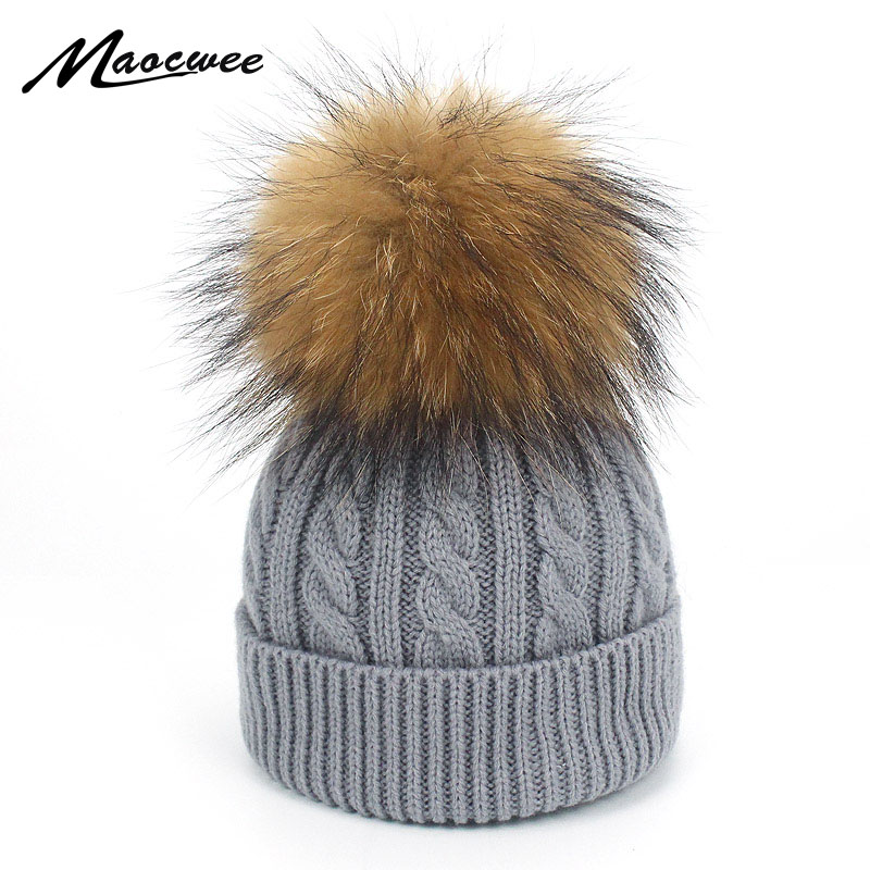 Brand   Skullies     Beanies   For Kids Real Fur Ball Cap Winter Hats Children Kids Boys Girls Pompom Hat Winter Pom Poms   Beanie   Hats