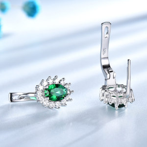 Image 2 - UMCHO 925 Sterling Silver Earrings Gemstone Created Emerald Clip Earrings For Female Birthday Anniversary Gifts Fine Jewelry