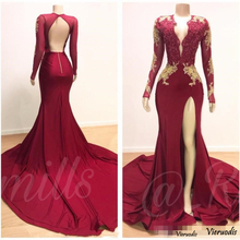 Burgundy Sexy Mermaid Prom Dress 2019 V Neck Long Sleeves Beaded Formal Party Gowns SweepTrain Evening Dresses Custom made