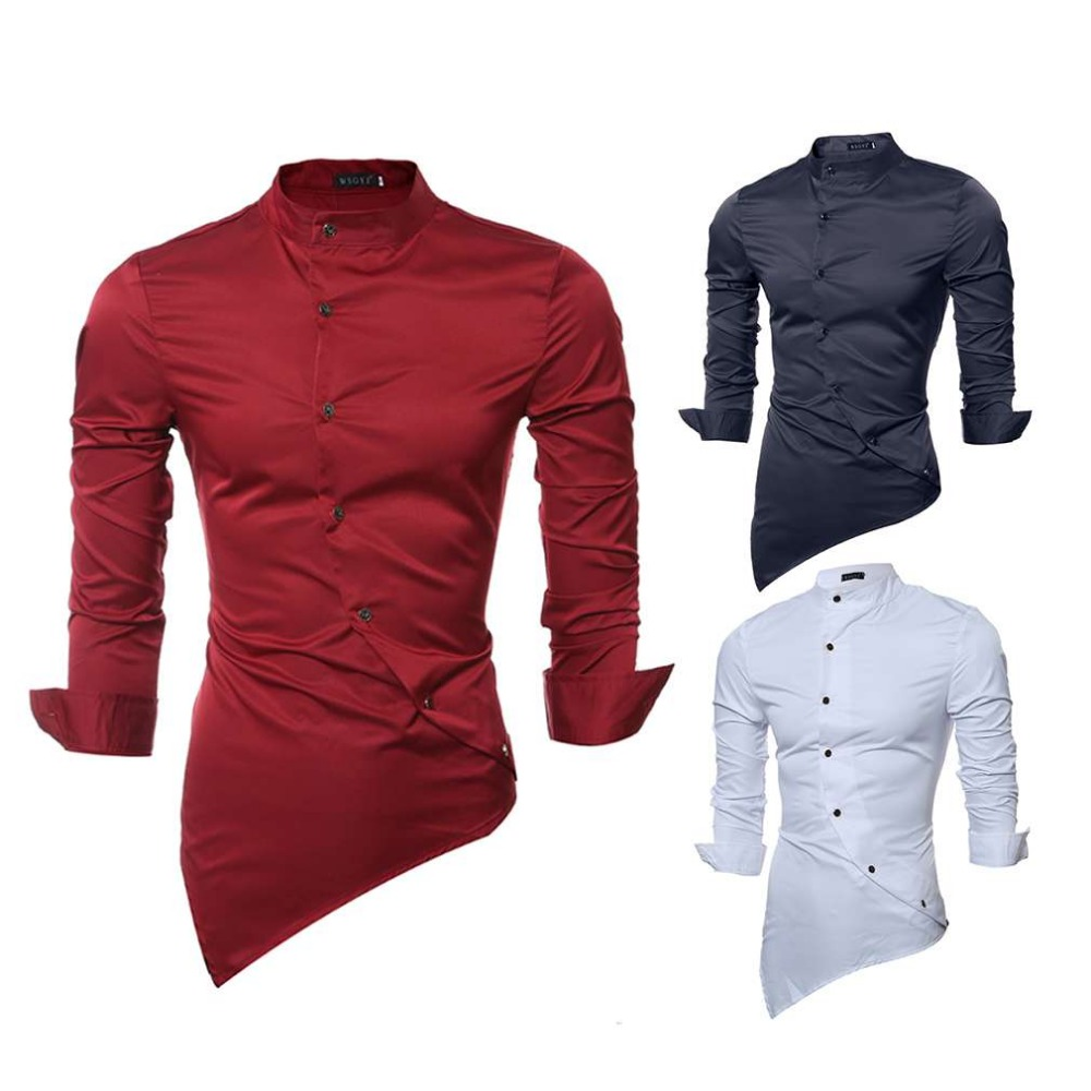 Solid Color All Match Men Shirt Stand Up Collar Fashion Long Sleeve