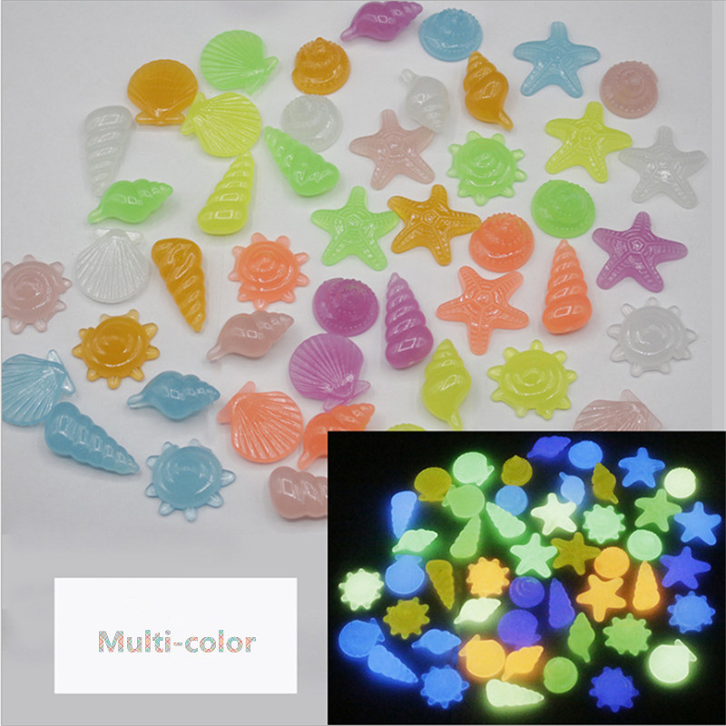 10pcs/lot Aquarium Decorative Glow Stone Luminous Fake Pebbles Marine Life Seashells Starfish Solar Fish Tanks Decoration