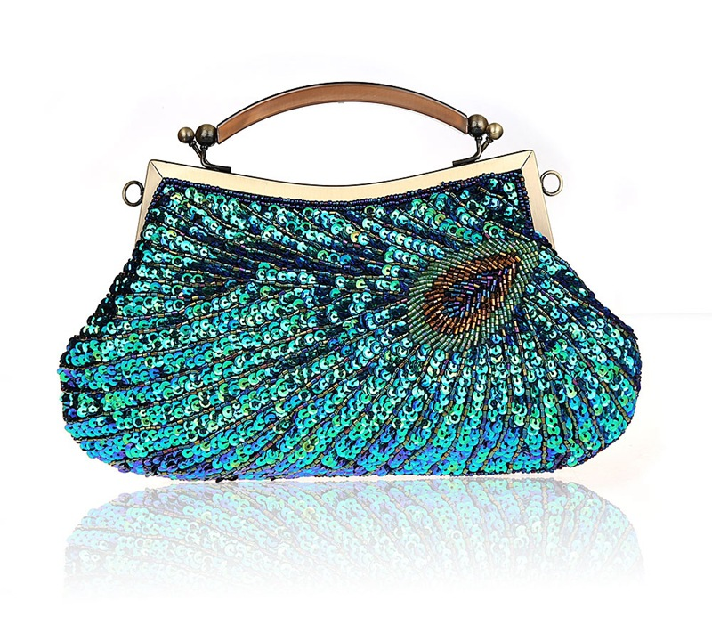 Vintage Women Clutch Bags Peacock Pattern Sequins Beading Chain handbag Bridal Purse luxury Evening Party Wedding Gifts Wris