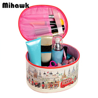 PU Cylindrical Cosmetic Bag Travel Waterproof Makeup Pouch Toiletry Organizer Necessary Handle Case Accessories Supplies Product