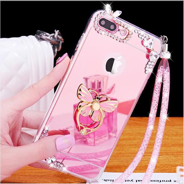 Для iphone7 плюс 5.5 дюйма Чехол блеск зеркало телефона Чехол для iphone7 Plus 5.5 дюйма Роскошные Алмаз чехол для обувь для девочек Для женщин крышка