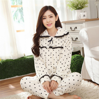 Flannel pajamas Long sleeves women winter Coral cashmere suit Cardigan Turn down Collar Lovely girl Polka Dot Thickening