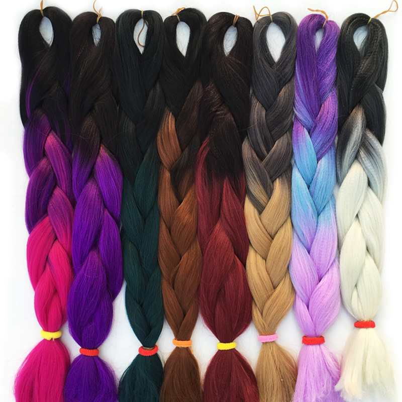 Radient Falemei 100g/pack 24inch Kanekalon Braiding Hair Ombre Two Tone Colored Jumbo Braids Hair Synthetic Hair For Dolls Crochet Hair Jumbo Braids