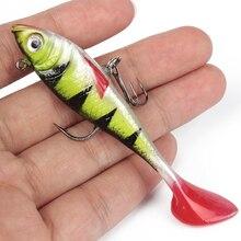 Goture Fishing Lures Soft Lure Bait Luminous Red Tail Lead Fish Fishing Artificial Bait Jig Wobblers 5pcs 11g 8cm