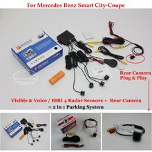 Liislee Car Parking Sensors + Rear View Camera = 2 in 1 Visual / BIBI Alarm Parking System For Mercedes Benz Smart City-Coupe