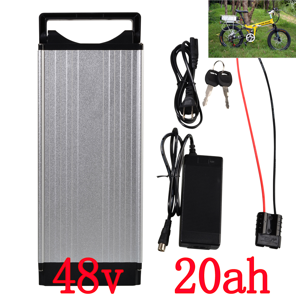 Electric Bike battery 48V 20AH 1000W Rear Rack battery 48V 20AH Lithium ion battery With Tail light 30A BMS 54.6V 2A charger free customs duty 1000w 48v battery pack 48v 24ah lithium battery 48v ebike battery with 30a bms use samsung 3000mah cell