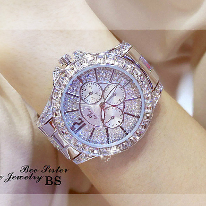 купить New Arrival Famous Brand Bling Watch Women Luxury Austrian Crystals Watch Rose Gold Shinning Diomand Rhinestone fashion Bracelet по цене 2199.04 рублей