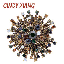 CINDY XIANG 2 Colors Choose Rhinestone Vintage Flower Brooches For Women Coat Elegant Brooch High Quality Jewelry Autumn Pins