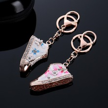 Exquisite Cute Mini Alloy Crystal Enamel flower Shoe Key Chain Bag Charm Ring Holder Boot Keychain jewelry