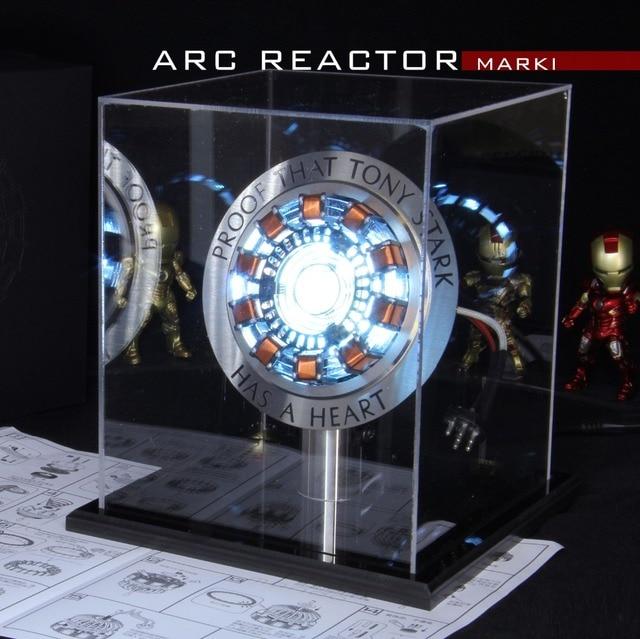 Avengers 1:1 Iron Man Arc Reactor Action Figure MK1 Ironman Reactor Tony Stark Arc Reactor DIY Parts Model Toys With LED Light