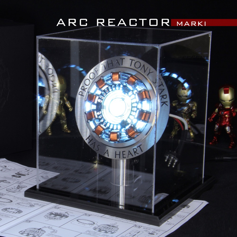 Figura de Ação vingadores 1:1 Iron Man Arc Reactor MK1 Reator Ironman Tony Stark Arc Reactor DIY Peças de Brinquedos Modelo Com DIODO EMISSOR de Luz