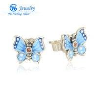 European Brand Earring Of 925 Sterling Silver Earrings For Women Fine Jewelry Butterfly Earrings ER1019