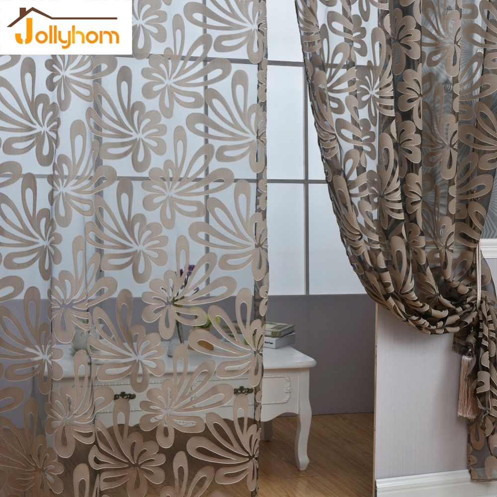 1m grey flower tulle curtains for living room for M s living room curtains