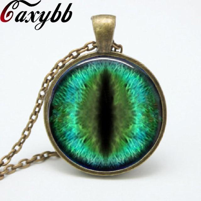 dde7402343083a 1pcs wholesale Cat Eye Necklace jewelry dragon eye pendant bronze chain  necklaces Glass Art Cabochon Necklaces FTC-N53