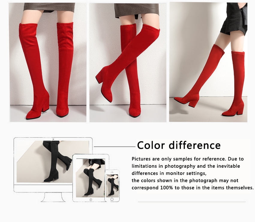 Women Hoof Heels Winter Shoes Pointed Toe Sexy Elastic Fabric Boots 86