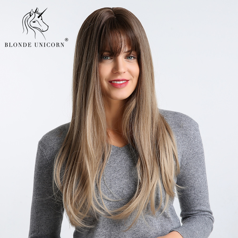 Blonde Unicorn 22 Inch Women Synthetic Wigs Long  Straight Hair With Natural Bangs Real Skin Crown Ombre Wig 4 Colors